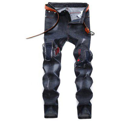 European Fashion Zipped Holes Jeans Pants para Hombres