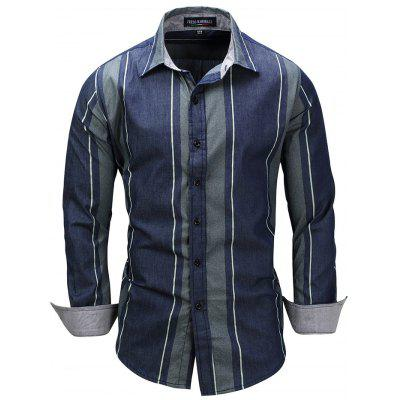 FREDD MARSHALL 079 - 2 Striped Denim Casual Shirt