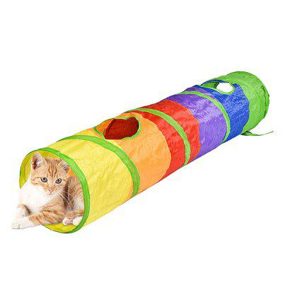Folding Rainbow Cat Channel Pet Toy for Playing
