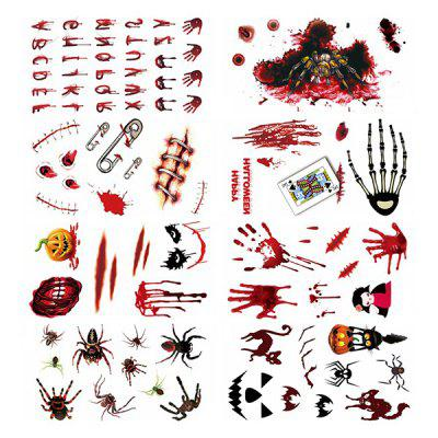 Waterproof Scar Halloween Tattoo 18pcs