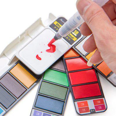 Portable Solid Watercolor Paint Set Hand-painted 18 Color