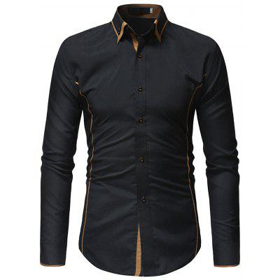 Double Layer Collar Casual Slim Long Sleeve Shirt for Men