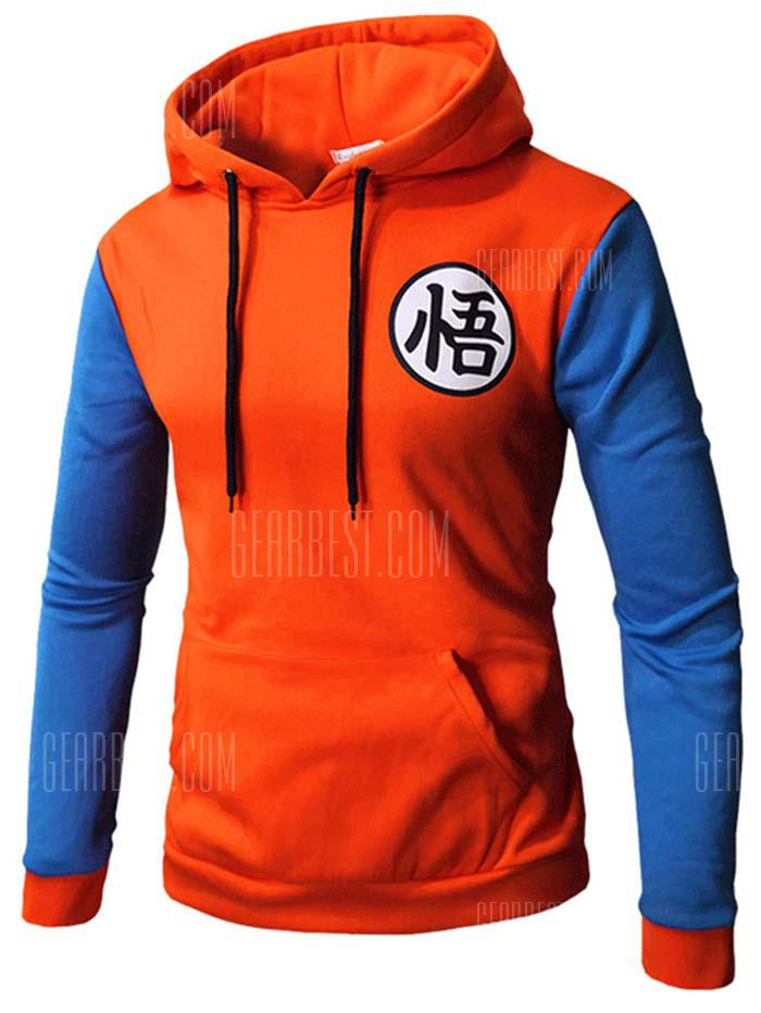 Gearbest Contrast Color Baseball Casual Hoddie for Men - ORANGE 3XL