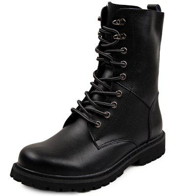 Genuine Leather Lace Up Tall Boots Shoes for Men