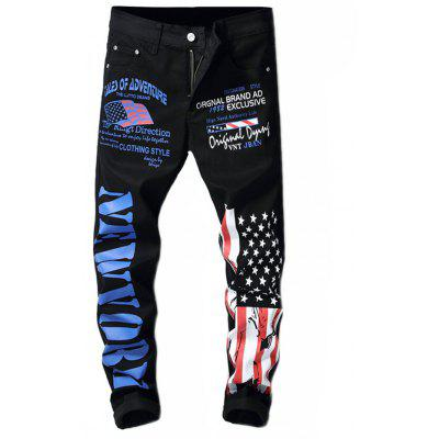 Stylish American Flag Design Jeans for Men