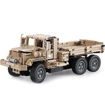 CaDA DIY Assembled Simulation Military Truck Building Block Toy