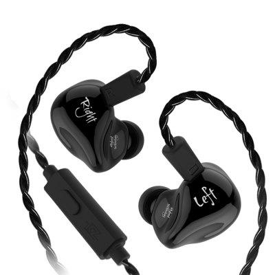 Gearbest KZ ZS4 HiFi Stereo In-ear Earphone Music Earbuds - BLACK WITH MIC Dynamic and Balanced Armature Unit / Pluggable Design