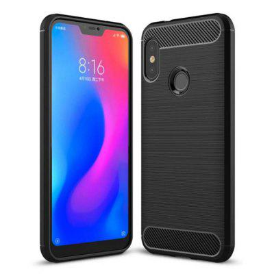 Naxtop Wire Drawing Carbon Fiber Textured TPU Brushed Finish Soft Phone Back Cover Case for Xiaomi Mi A2 Lite / Redmi 6 Pro