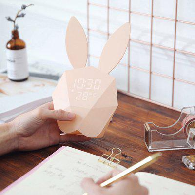 Cute Rabbit Shape Digital Alarm Clock LED Sound Night Light for Home Decoration