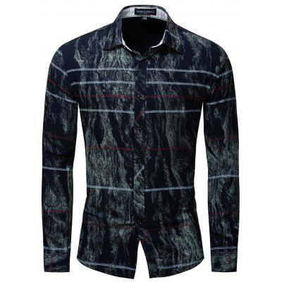FREDD MARSHALL Long Sleeve Men Printed Elastic Shirt