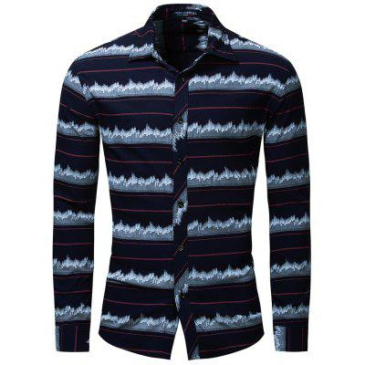 FREDD MARSHALL Long Sleeve Elastic Printed Shirt