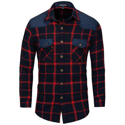 FREDD MARSHALL Leisure Splicing Checked Shirt