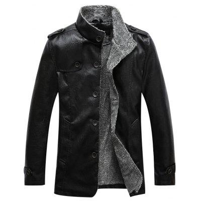 Brushed Stand Collar PU Leather Men Jacket Coat