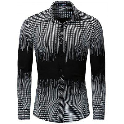 FREDD MARSHALL Long Sleeve Men Print Elastic Shirt