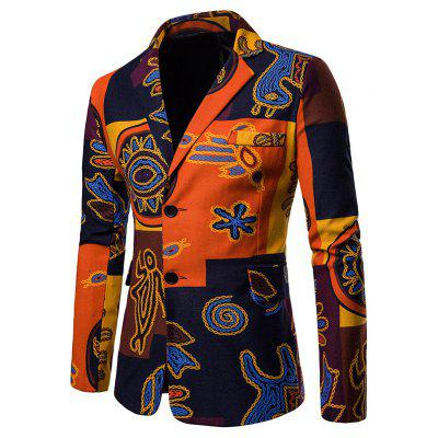 Stylish Ethnic Style Print Men Coat Suit Blazer