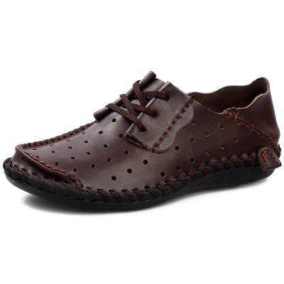 Мужчины Breathable Anti-slip Lace-up Leather Loafer Shoes