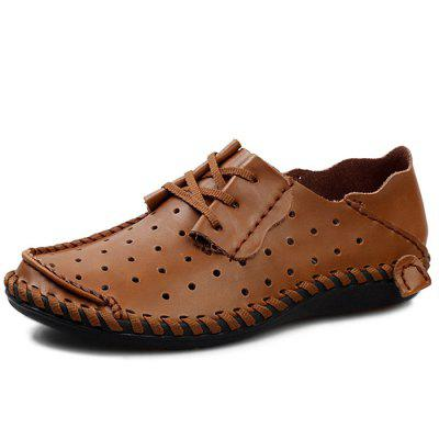 Men Breathable Anti-slip Lace-up Leather Loafer Shoes