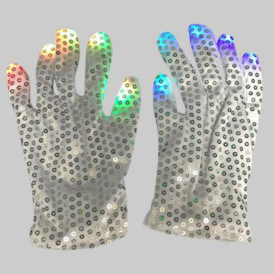 LED Seven-color Luminous Gloves Halloween Party Gifts 2pcs