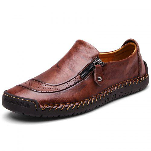 Men Casual Leather Shoes Soft Slip On Side Zipper
