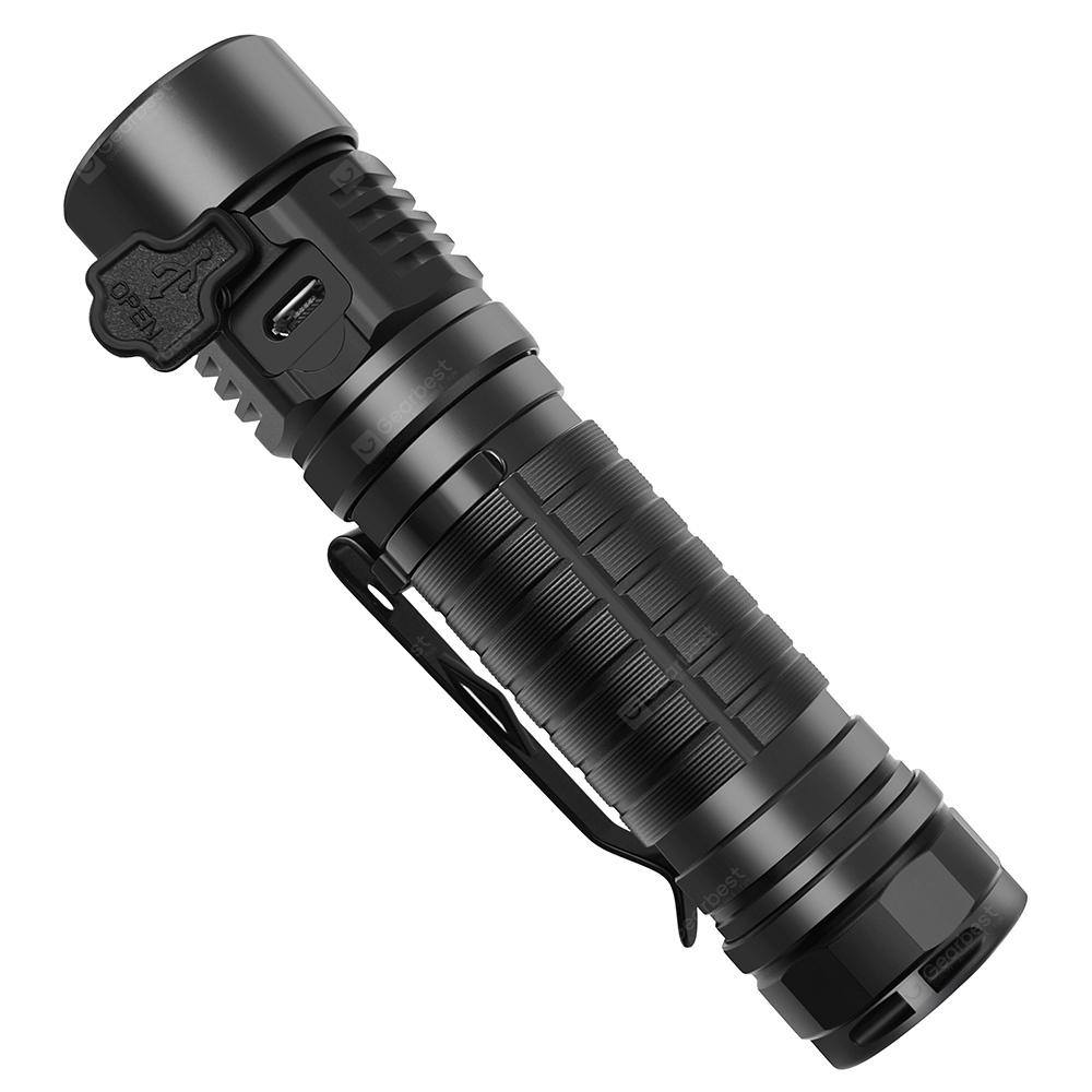 ROFIS MR30 Hard Light LED Flashlight CREE XHP 35 HI Lamp Bead - BLACK