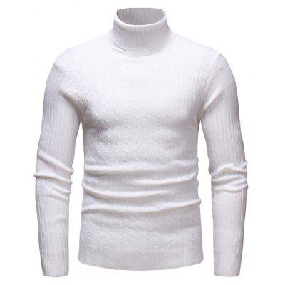 Leisure Turn-down Collar Solid Color Sweater for Man