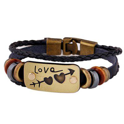 Braid Leather Heart Pattern Couple Bracelet