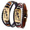 Braid Leather Heart Pattern Pareja Pulsera - NEGRO