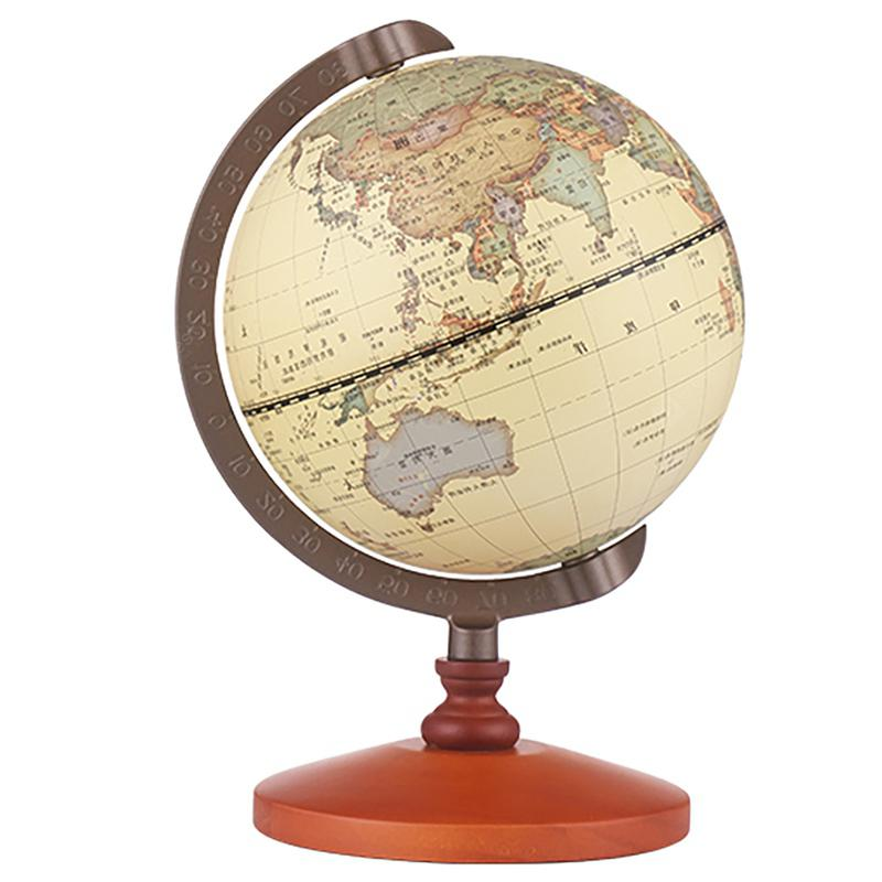Antique Globe Office Solid Wood Table Decoration - Beige