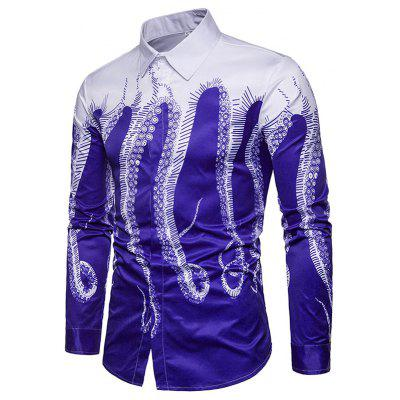 Male Creative Printing  Slim Fit Shirt