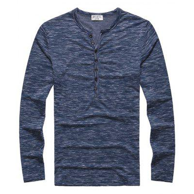 Men Chic Leisure Long Sleeve Cotton T-shirt
