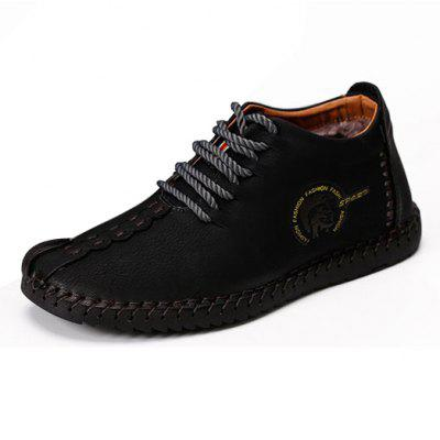 Comfortable Lace-up Leather Men Casual Shoes