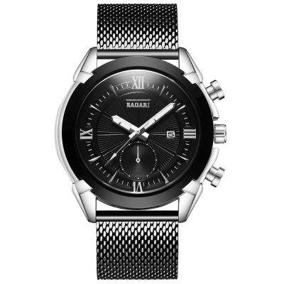 BAGARI 1671W Quartz Watch with Stainless Steel Band