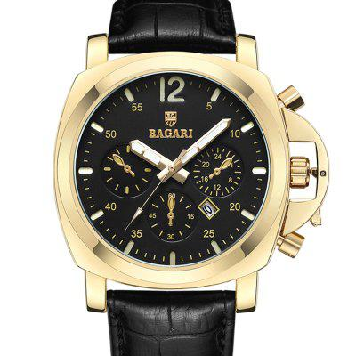 BAGARI 1666P Leather Male Quartz Watch