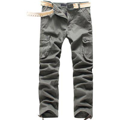 Men Leisure Solid Color Cotton Cargo Pants