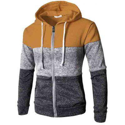 Men Fashion Comfortable Splicing Hooded Zipper Hoodie