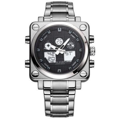 6.11 8129 Male Digital Watch with Stainless Steel Band