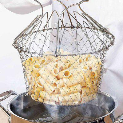 Creative Foldable Stainless Fried Basket for Kitchen