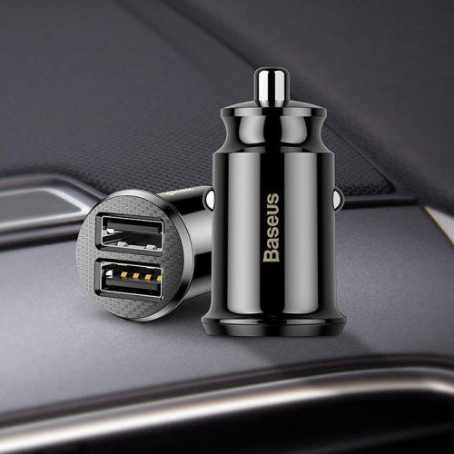 Gearbest BASEUS Multifunctional 2 USB Interface Car Charger 1pc - BLACK Creative Outdoor Equipment