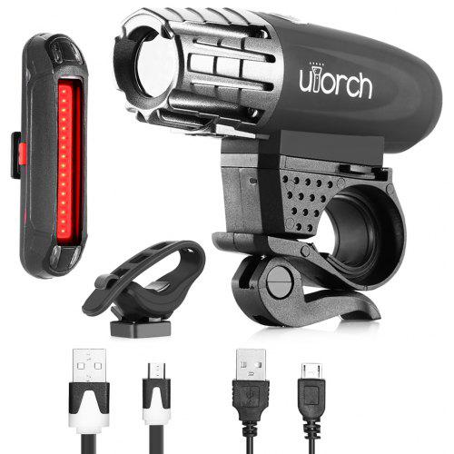 Gearbest Utorch Waterproof Bicycle Headlight Taillight - BLACK USB Rechargeable Quick-release Design