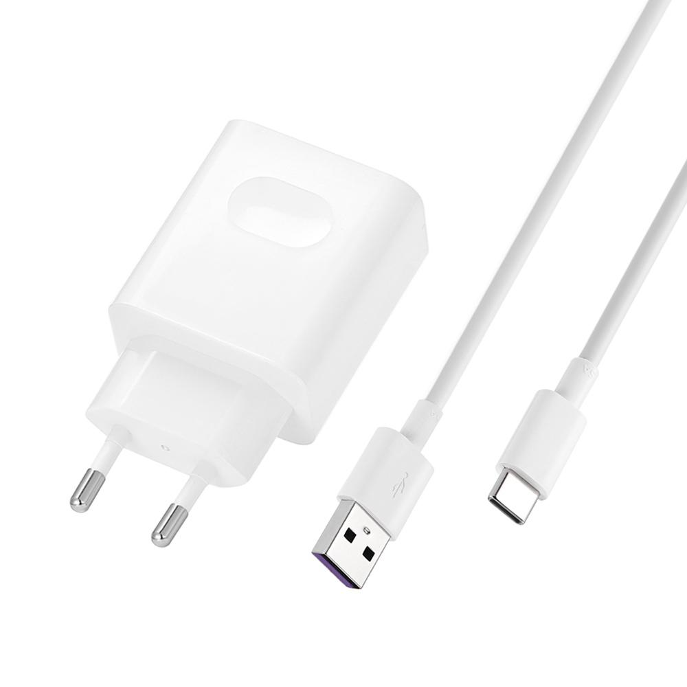 Original HUAWEI Quick Charge Power Adapter EU Plug + Type-C Charging Data Cable Set - White