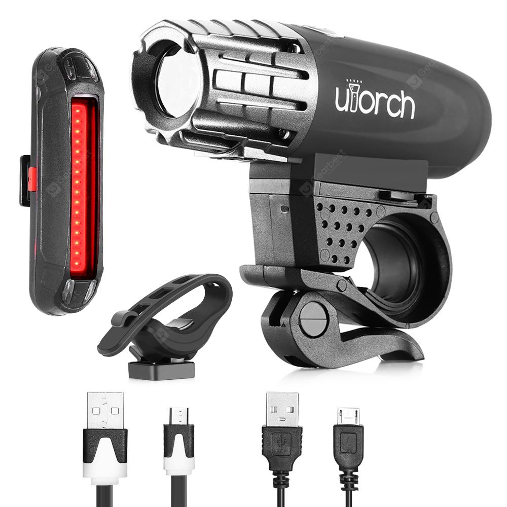 Utorch Waterproof Bicycle Headlight Taillight BLACK