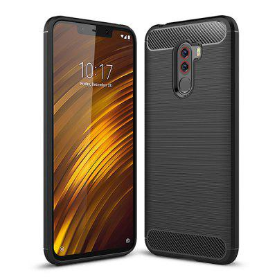 Naxtop Wire Drawing Carbon Fiber TPU Soft Phone Back Cover Case for Xiaomi Pocophone F1