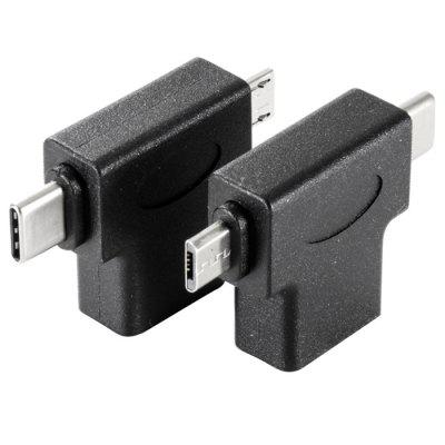 3-in-1 Type C / Micro USB / USB Adapter with OTG Function 2PCS