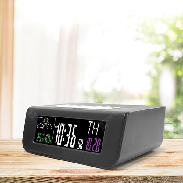 Digital Colorful Screen Alarm Clock FM Radio - BLACK