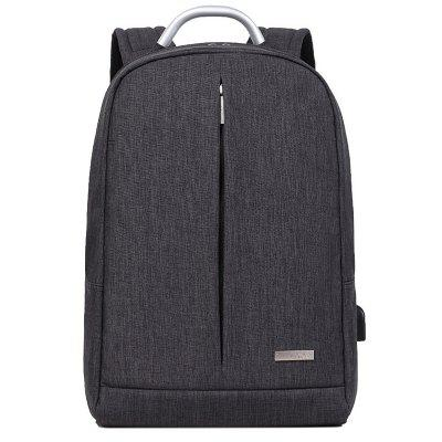 Male Leisure Outdoor Solid Color Backpack with USB Port