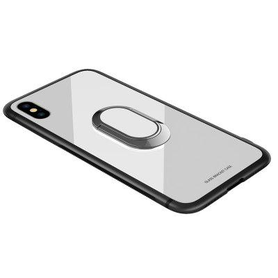 Buckle Ring Stand Tempered Glass Phone Case for iPhone X