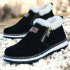 Suede Zipper Snow Boots for Men - BLACK