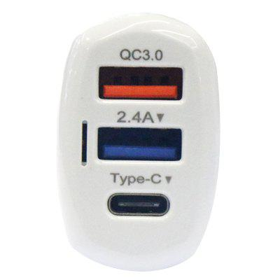 LZ - 429 Type-C + QC3.0 Dubbele USB-poorten Smart Car Charger