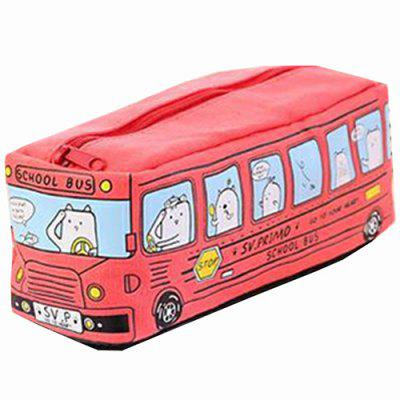 Creative Running Bus Pencil Case Students Canvas Cute Stationery Bag