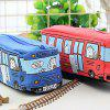 Creative Running Bus Pencil Case Students Canvas Cute Stationery Bag - BEAN RED